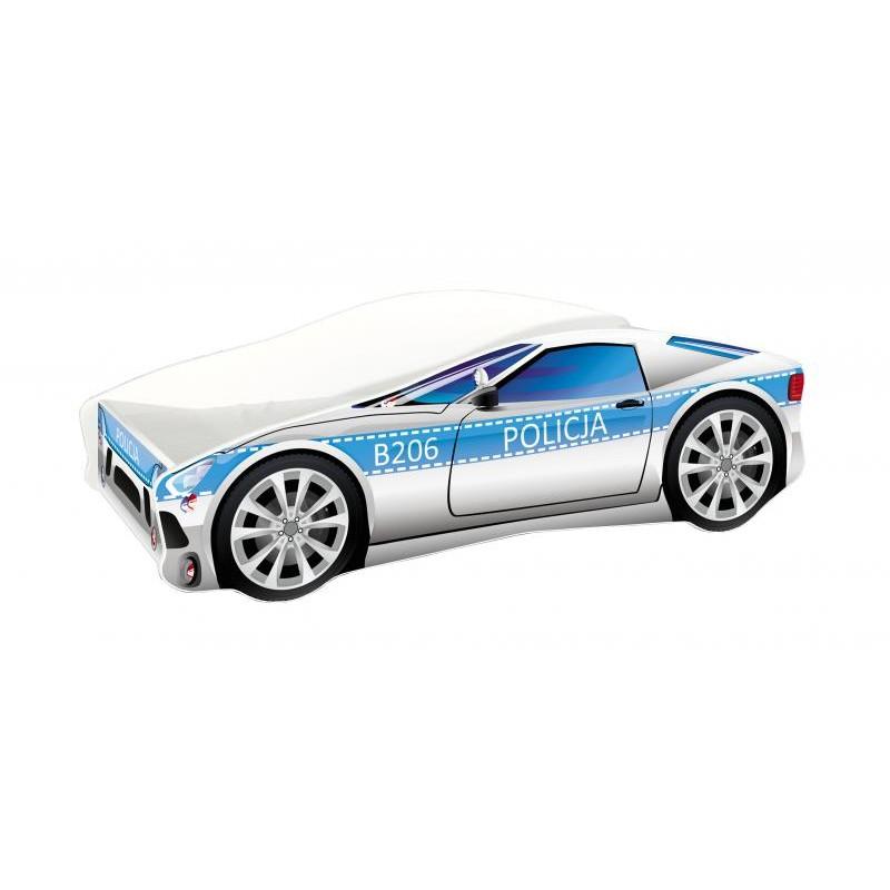 Pat copii Race Car Policja MyKids, 160 x 80 cm, pal, maxim 90 kg, 3 ani+, Alb/Albastru 2021 shopu.ro