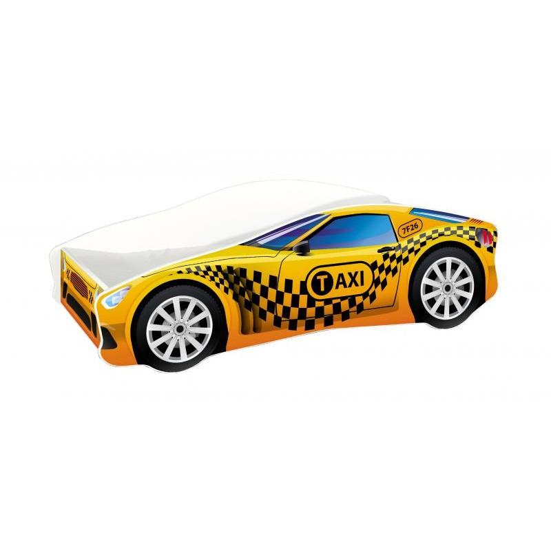 Pat copii Race Car Taxi MyKids, 140 x 70 cm, pal, maxim 90 kg, 3 ani+, Galben/Negru 2021 shopu.ro