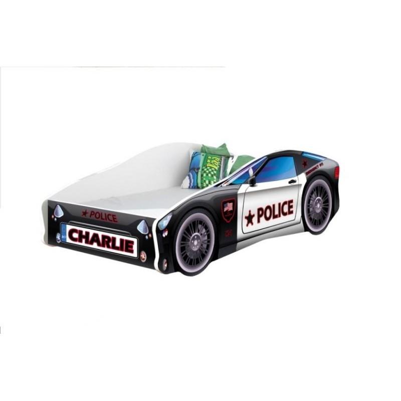 Pat copii personalizat Race Car MyKids, 140 x 70 cm, pal, maxim 90 kg, 3 ani+, Negru 2021 shopu.ro