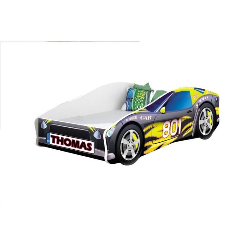 Pat copii personalizat Race Car MyKids, 160 x 80 cm, pal, maxim 90 kg, 3 ani+, Multicolor 2021 shopu.ro