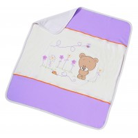 Paturica pentru bebe Honey Bear Lila, bumbac, lavabila