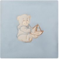 Paturica bebelusi cu Broderie Polar Fleece Womar Zaffiro, 90 x 80 cm, Albastru deschis
