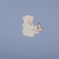 Paturica bebelusi cu Broderie Polar Fleece Womar Zaffiro, 90 x 80 cm, Albastru inchis