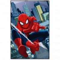 Paturica copii Spiderman Star, 100 x 150 cm, poliester, albastru