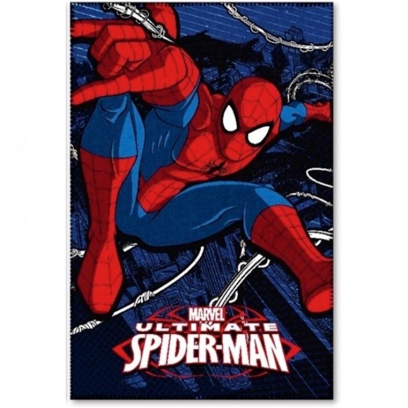 Paturica copii Spiderman Star, 100 x 150 cm, poliester, bleumarin 2021 shopu.ro