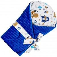 Paturica de infasat multifunctionala Minky Infantilo, 75 x 75 cm, bumbac/poliester, 0 luni+, model ursuleti, Albastru