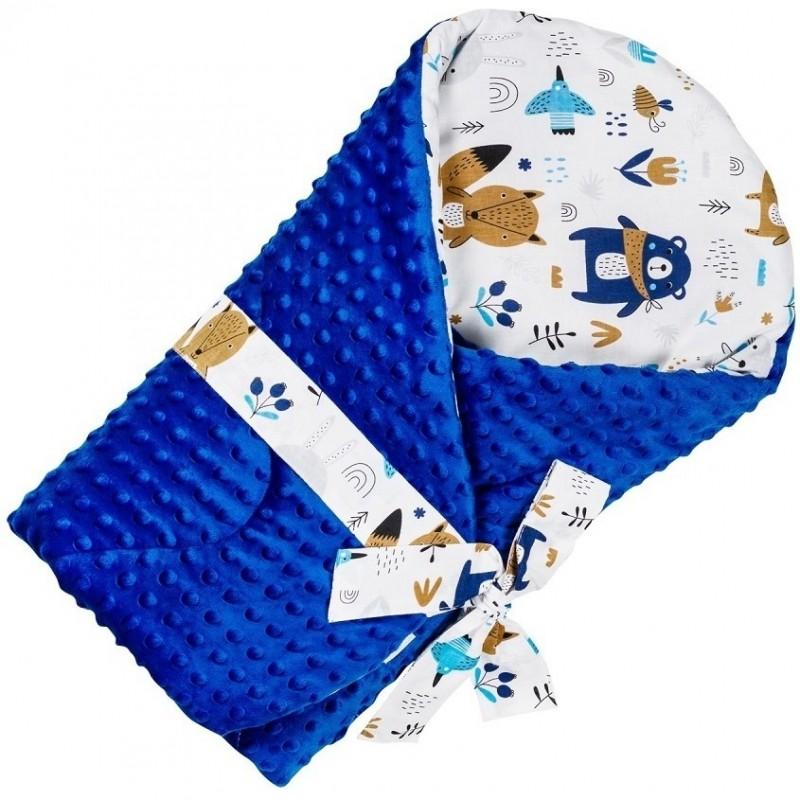 Paturica de infasat multifunctionala Minky Infantilo, 75 x 75 cm, bumbac/poliester, 0 luni+, model ursuleti, Albastru 2021 shopu.ro