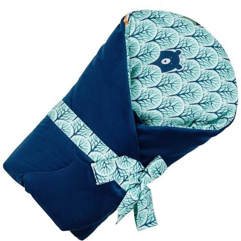 Paturica de infasat multifunctionala Velvet Infantilo, 75 x 75 cm, Albastru 2021 shopu.ro