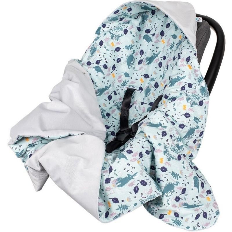 Paturica de infasat pentru scaun auto Velvet Infantilo, 90 x 90 cm, Blue Rabbit/Gri