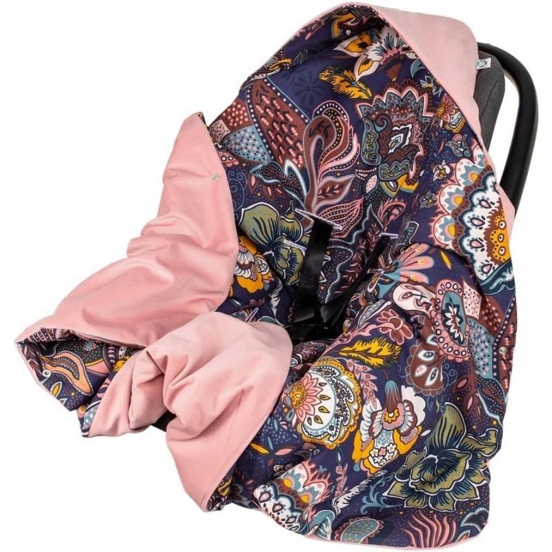 Paturica de infasat pentru scaun auto Velvet Infantilo, 90 x 90 cm, model Boho, Mov/Roz