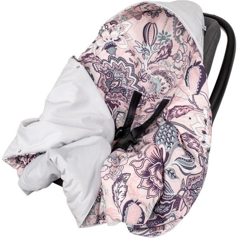 Paturica de infasat pentru scaun auto Velvet Infantilo, 90 x 90 cm, model Boho, Roz/Gri