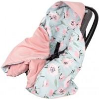 Paturica de infasat pentru scaun auto Velvet Infantilo, 90 x 90 cm, model floral, Roz