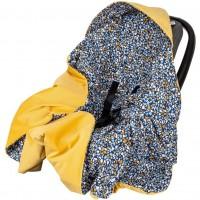Paturica de infasat pentru scaun auto Velvet Infantilo, 90 x 90 cm, Stones/Galben