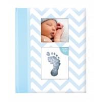 Set amintiri caietul bebelusului Pearhead, 23 x 27 cm, amprenta cerneala, Albastru