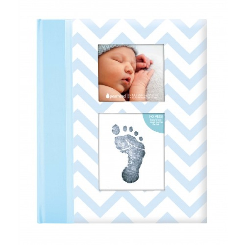 Set amintiri caietul bebelusului Pearhead, 23 x 27 cm, amprenta cerneala, Albastru 2021 shopu.ro