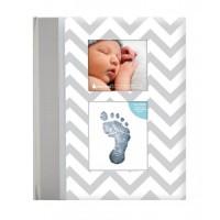 Set amintiri caietul bebelusului Pearhead, 23 x 27 cm, amprenta cerneala, Gri