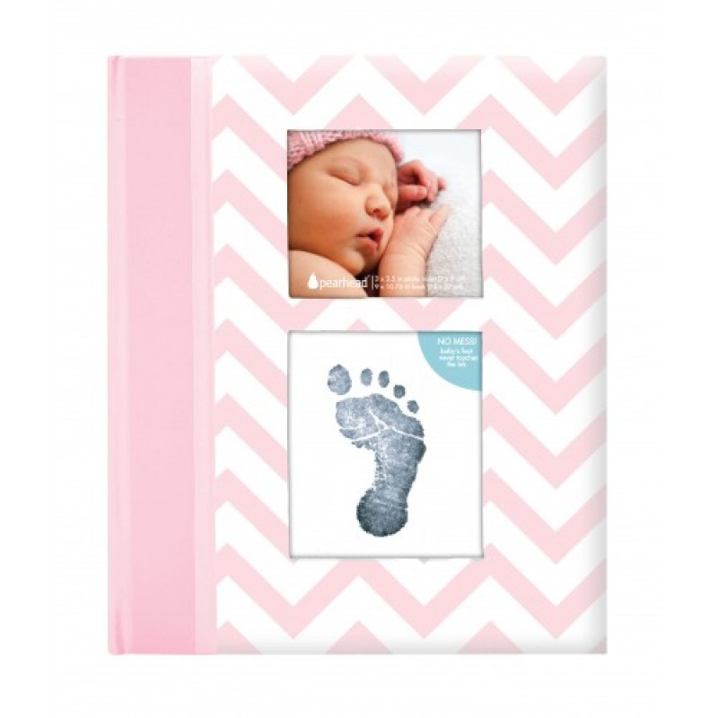 Set amintiri caietul bebelusului Pearhead, 23 x 27 cm, amprenta cerneala, Roz