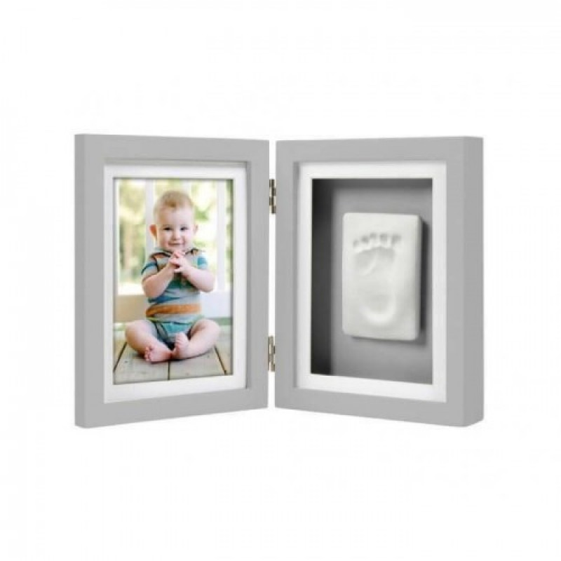 Kit rama foto dubla cu amprenta mulaj Pearhead, 19 x 29.5 cm, Gri 2021 shopu.ro