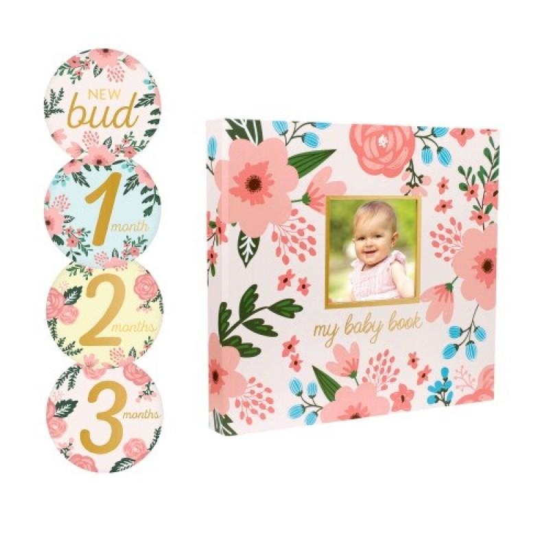 Set amintiri caietul bebelusului Pearhead, amprenta cerneala, 0 luni+, model floral