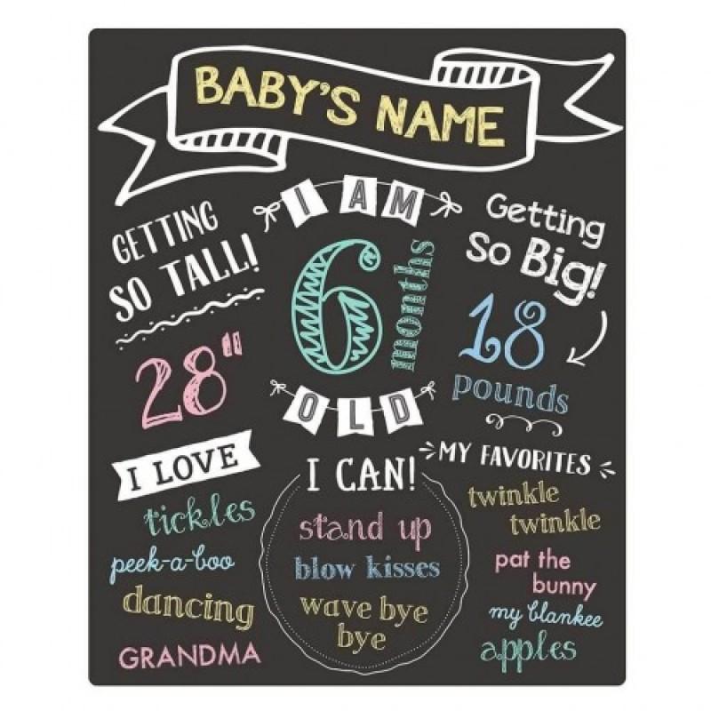 Tabla cu creta evenimente bebelusi Pearhead, 45 x 26 cm, Negru 2021 shopu.ro
