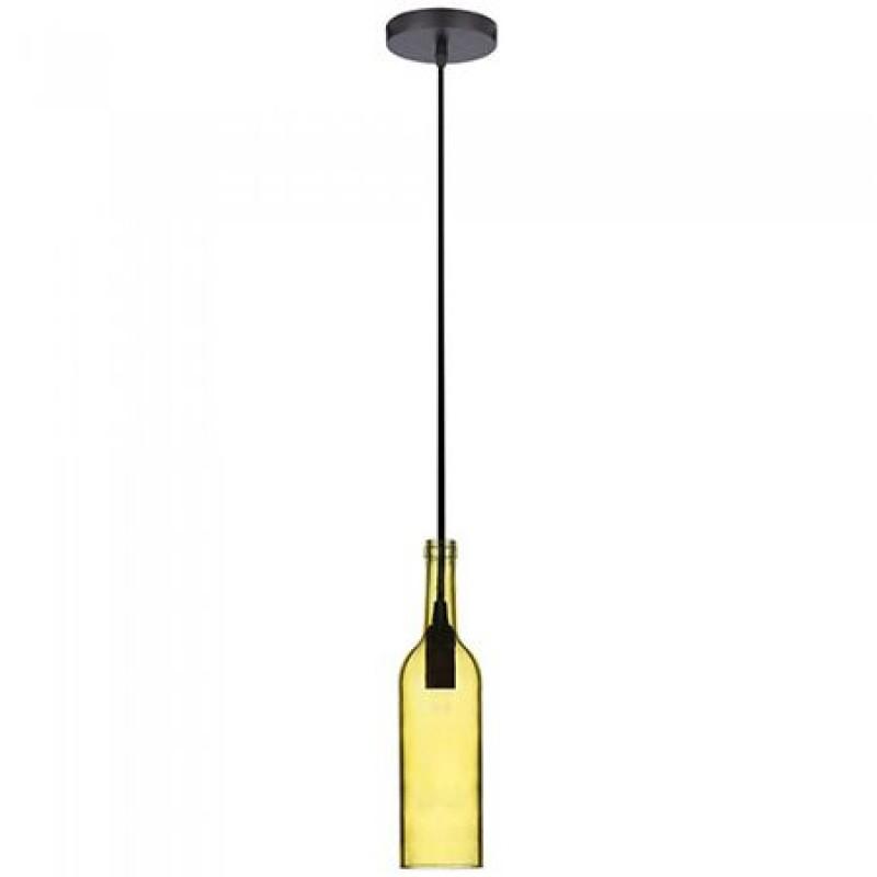 Pendul tavan, 60 W, soclu E14, model sticla de vin, Galben shopu.ro