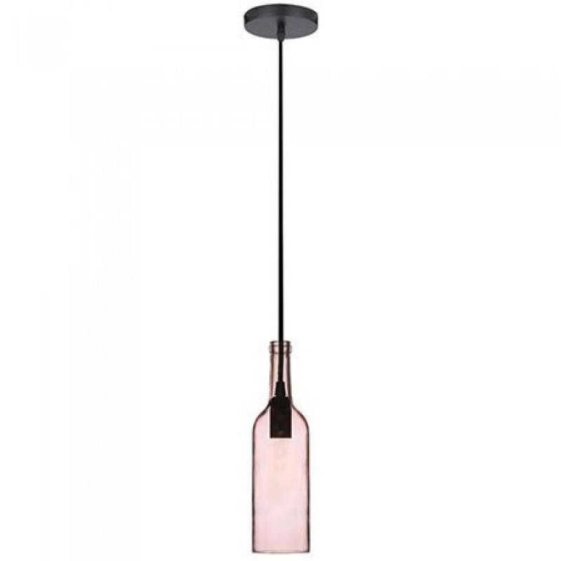 Pendul tavan, 60 W, soclu E14, model sticla de vin, Roz deschis shopu.ro
