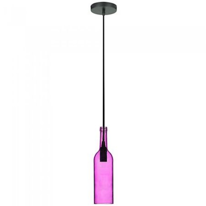 Pendul tavan, 60 W, soclu E14, model sticla de vin, Roz shopu.ro