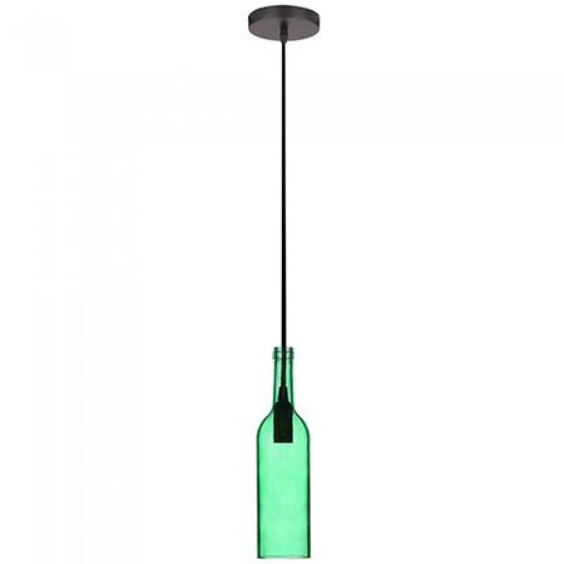 Pendul tavan, 60 W, soclu E14, model sticla de vin, Verde shopu.ro