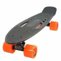 Penny board DHS, 22 inch, 55 x 15 cm, PVC, cadru aluminiu, maxim 100 kg, model city, Gri/Portocaliu