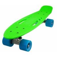 Penny board DHS, 22 inch, 55 x 15 cm, PVC, cadru aluminiu, maxim 100 kg, model city, Verde/Albastru