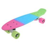 Penny board DHS, 22 inch, 55 x 15 cm, PVC, cadru aluminiu, maxim 100 kg, model pastels, Multicolor