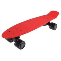 Penny board DHS, 22 inch, 55 x 15 cm, PVC, cadru aluminiu, maxim 100 kg, model retro, Negru/Rosu