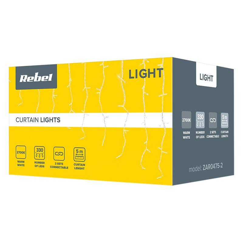 Instalatie luminoasa tip perdea Rebel, 6 W, 330 x LED, 5 m, IP44, lumina alb calda