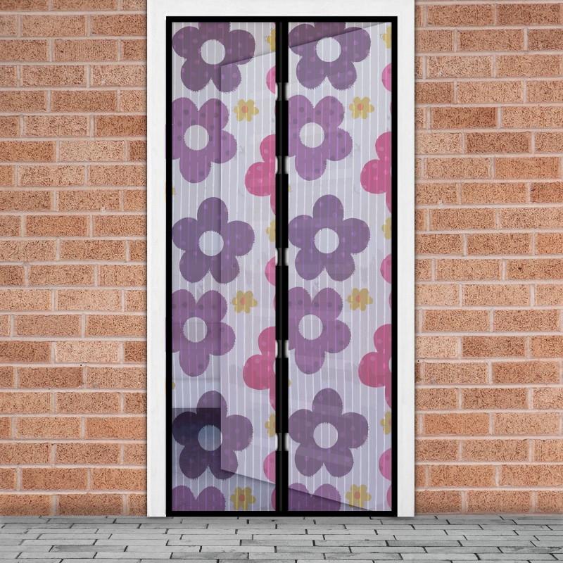 Plasa tantari pentru usa Delight, 100 x 210 cm, inchidere magnetica, model flori colorate shopu.ro