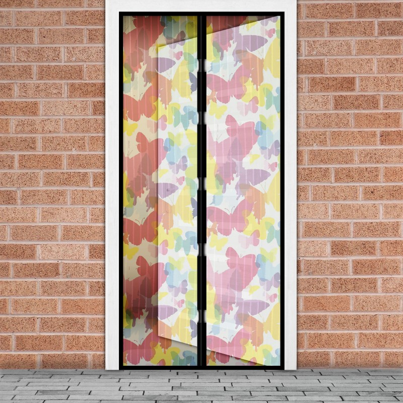 Plasa tantari pentru usa Delight, 100 x 210 cm, inchidere magnetica, model fluturi colorati shopu.ro