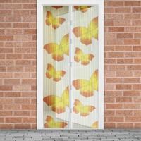 Plasa tantari pentru usa Delight Yellow Butterfly, 100 x 210 cm, inchidere magnetica