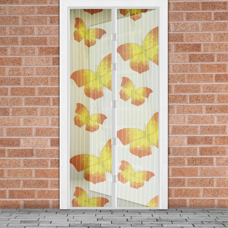 Plasa tantari pentru usa Delight Yellow Butterfly, 100 x 210 cm, inchidere magnetica 2021 shopu.ro