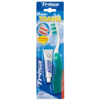 Periuta de dinti Trisa Travel Medium, pasta de dinti 9 ml inclusa