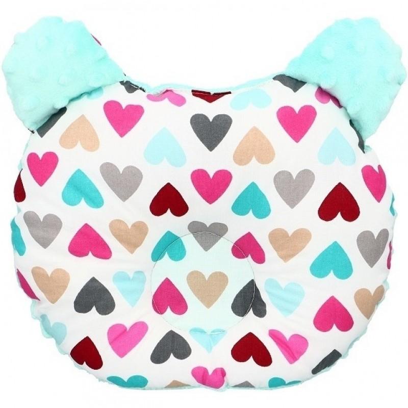Perna pentru bebelusi Minky ursulet Infantilo, bumbac, 27 x 26 cm, model inimioare, Verde menta 2021 shopu.ro