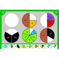 Placinta fractiilor Educational Insights, 50 carduri, 65 piese-fractii, 8 - 12 ani