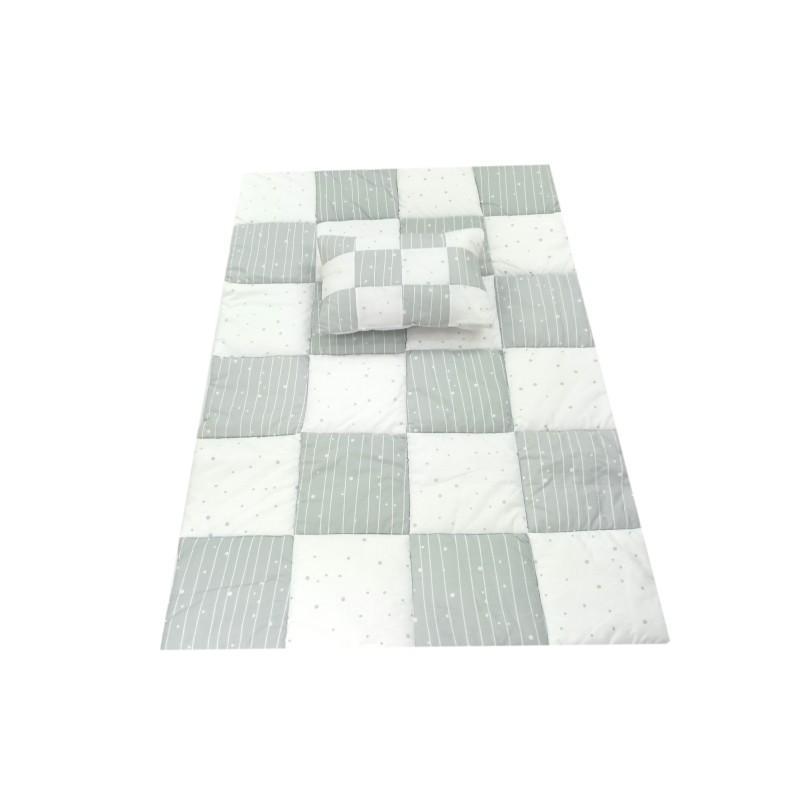 Set perna/plapuma Patratel Mykids, 150 x 100 cm, bumbac/poliester, 9 luni+, Alb/Verde 2021 shopu.ro
