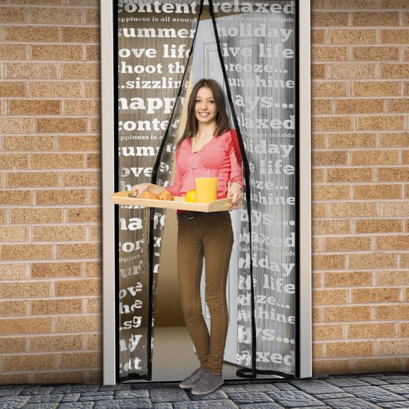 Plasa tantari pentru usa Delight, 100 x 210 cm, inchidere magnetica, model inscriptie text shopu.ro