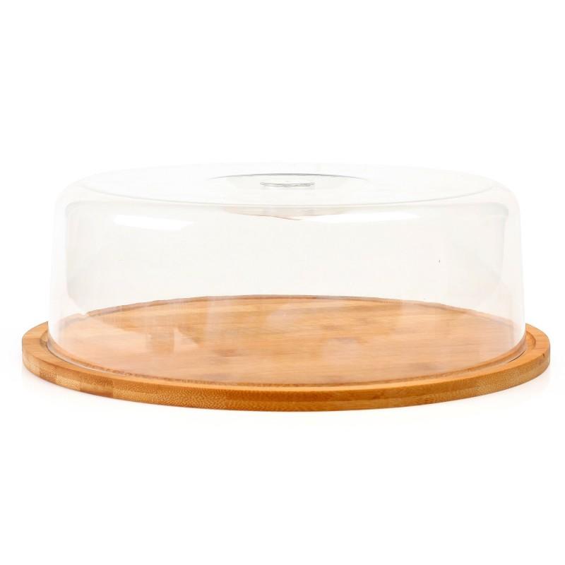 Platou branzeturi Zokura, 28 cm, capac cupola, lemn antibacterian 2021 shopu.ro