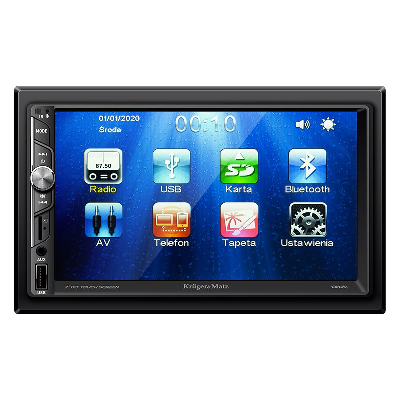 Player auto Kruger&Matz, 4 x 40 W, 2 DIN, 800 x 480 px, display 7 inch, bluetooth 2.1, port USB, ecran tactil, microfon incorporat 2021 shopu.ro
