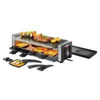 Plita electrica Raclette Unold, 1100 W, 8 spatule, LED, termostat, control temperatura, placa reversibila, accesorii incluse