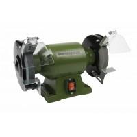Polizor de banc Heinner, 250 W, 2950 rpm, 150 mm, piatra 150 x 20 x 12.7 mm, carcasa metal, Verde