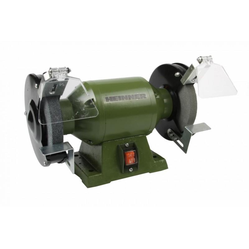 Polizor de banc Heinner, 250 W, 2950 rpm, 150 mm, piatra 150 x 20 x 12.7 mm, carcasa metal, Verde shopu.ro