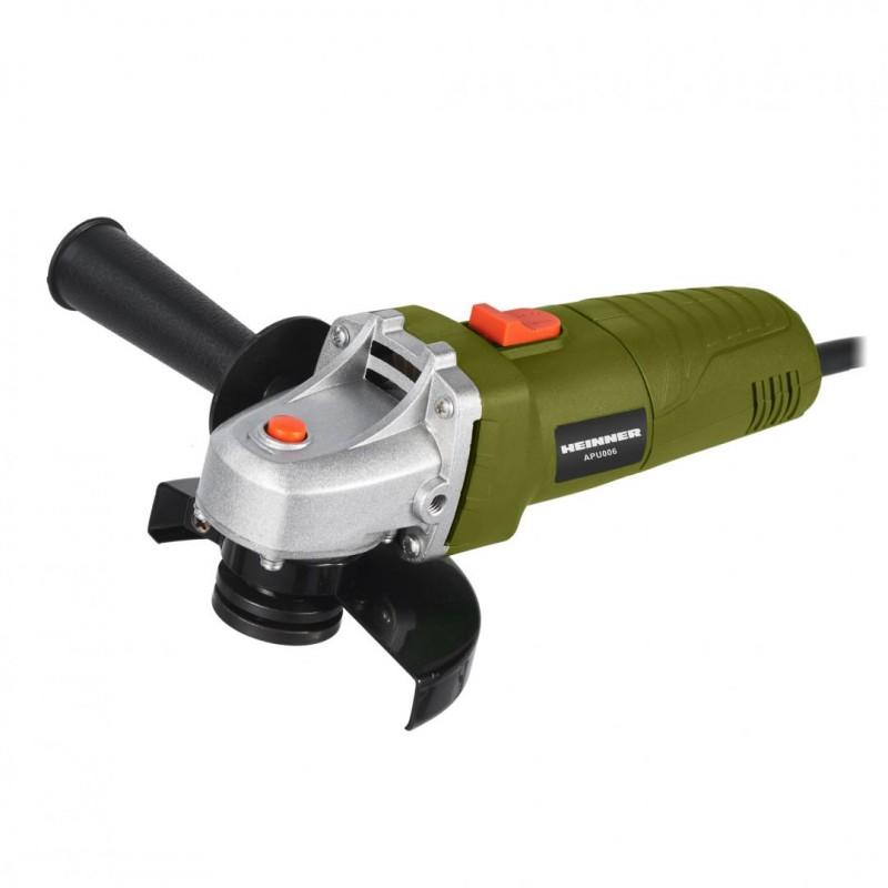 Polizor unghiular Heinner, 500 W, 11000 rpm, 115 mm, blocare ax, aparatoare de protectie, Verde shopu.ro