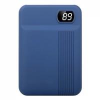 Baterie externa, 10000 mAh, 2.1 A, USB,afisaj digital, Albastru
