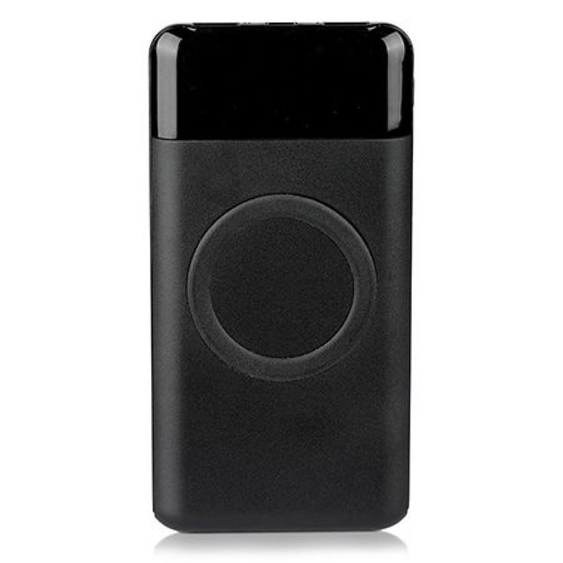 Baterie externa, 10000 mAh, 2 x USB, iesire Tip C, incarcare wireless, Negru